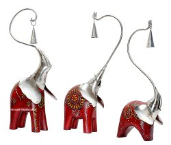 Iron & Wooden Craft Fusion Bell Elephant Set Of 3 Decorative Showpiece