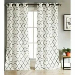 White Printed Readymade Designer Curtain, For Window, Size: 5x7 Feet