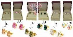 Brass Multi Color Cubic Zircon Stud Earring