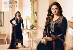 Faux Georgette With Thread Embroidery Work Suit