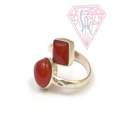 Carnelian Dual Shape Gemstone Ring with Silver Plated