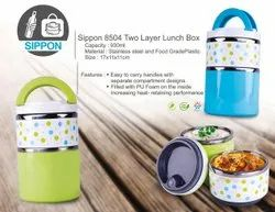 Green Round Sippon-8504 Stainless Steel Two Layer Lunch Box, Capacity: 930ml