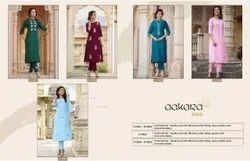 Formal Wear Straight Designer Muslin Embroidered Kurti, Wash Care: Dry clean