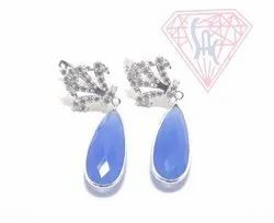 Sterling Silver Gemstone Cubic Zirconia Stud Earrings