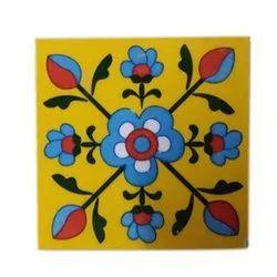 Ceramic Blue Pottery Tile, Size: 6x6 Inch