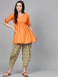 La Firangi Women Orange & Green Solid Kurti with Dhoti Pants
