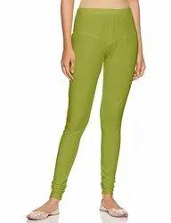Anjana Plain Light Green Ladies Cotton Lycra Churidar Legging, Size: XL