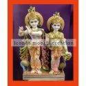 Golden And White Marble Radha Krishna Statue
