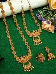 Wedding Wear Golden Long Haram Gold Plated Necklace Set