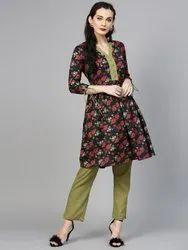 La Firangi Women Black & Olive Green Printed Kurta with Trousers