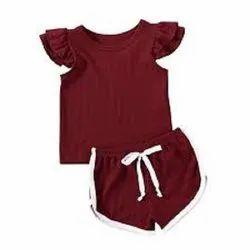 Half Sleeves Girls Maroon Top And Short
