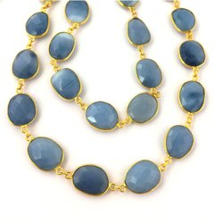 Blue Opal Gemstone Bezel Connector Chain - Freeform Size Bezel Chain