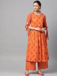 La Firangi Women Orange & Pink Printed Kurta With Palazzos
