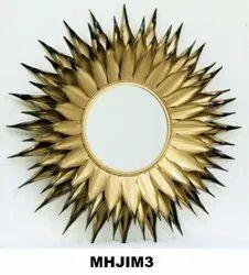 Craftkriti Golden Sunburst Metal Mirror In Gold Leaf, For Home, Size: 36