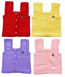 Multicolor Hand Made New Born Baby Woolen Sleeveless Front Open Sweater