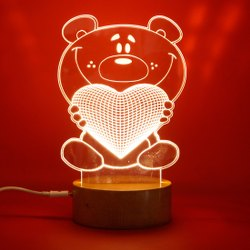 5v Table Lamps 3D Illusion love and Moon Acrylic Lamp, For Decoration