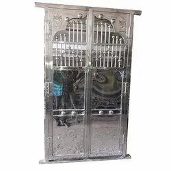 Silver Designer Stainless Steel Doors, Exterior, Double Door