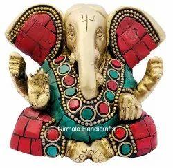Brass Blassing Kan Ganesha Statue Hindu God Idol Figurine