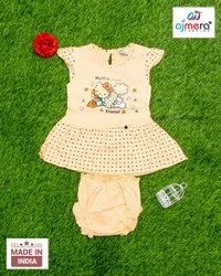 Printed Stitch Baby Party Wear Frocks