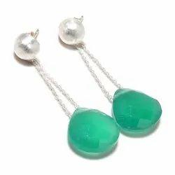 Zed Green Mani Gemstone Earring, For Jewelry