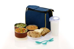 Cronus Blue Stainless Steel Lunch Box -5 Container, Capacity: 1500 Ml