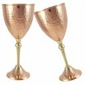 Pure Copper And Brass Goblet Chalices Wine Glasses