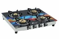 QUATTRO Stainless Steel Printed Glass Gas Chula Four Burner, For Kitchen, Size: 34 Inch