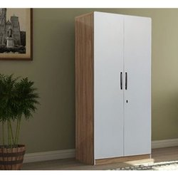 FurnDepot White and Brown Two Door Wooden Wardrobe, For Home