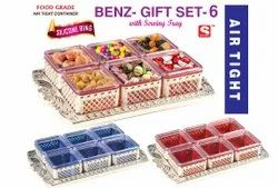 Plastic Square Sunlife Benz Gift Set 6 Dry Fruit Jar With Tray, Size/Dimension: 8x8cm