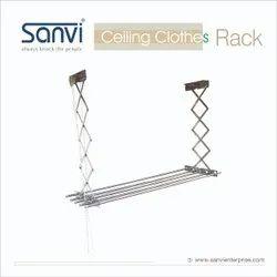 Sanvi Ss Celling Clothes Rack, For Home, Size: Adjustable
