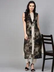 La Firangi Women Black & Off-White Printed Layered A-Line Kurta