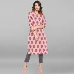 Janasya Women''s Pink Pure Cotton Kurta(JNE3422)