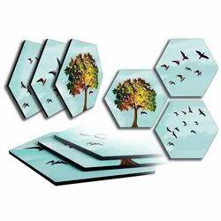 3 Piece Glass Hexagonal Photo Frame, For Gifting