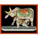 Painted Marble Cow Statue