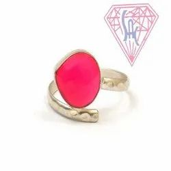 Hot Pink Chalcedony Gemstone Ring with Silver Plated