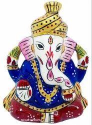 Metal Meenakari Saffa Ganesha Statue Enamel Work Indian God Idol Figurine