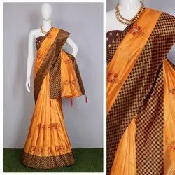 Nivera Multicolor Heavy Kitty Silk Fabric Designer Thread Work Saree, With Blouse Piece, 5.5 m (Separate Blouse Piece)