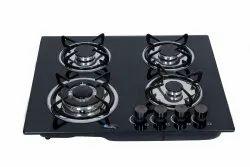QUATTRO Black Glass Gas Chula Four Burner, For Kitchen, Size: 40 Inch