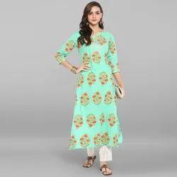 Janasya Women''s Sea Green Pure Cotton Kurta With Pant(SET085)