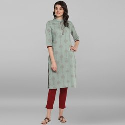 Janasya Women's Sea Green Pure Cotton Kurta(JNE3528)
