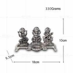 Silver Plated Laxmi Ganesh Saraswati Deepak