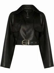Full Sleeve Black Women S Pure Leather Jacket