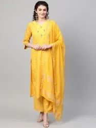 La Firangi Women Mustard Yellow Self- Checked Chanderi Kurta With Palazzos & Dupatta