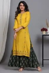Round Neck Printed Kurtis with Dupatta Sets