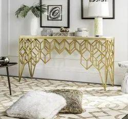 Golden Powder Coated Designer MS Table, For Restaurant, Size: 2 X 4 X 1 Feet