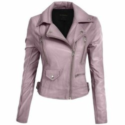 Full Sleeve Purple Sheep Leather Jacket Women