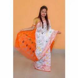 Printed White Orange Masrise Cotton Saree, With Blouse, 6 m