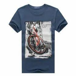 Half Sleeve Cotton/Linen Mens Printed Sublimation T Shirt, Size: Medium