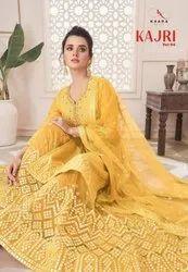 Kaara Suits Kajri Vol 4 Fox Georgette With Gotta Embroidery Khatli Work Sharara Salwar Kameez