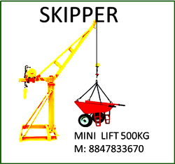 Without Trolley Skipper Construction Mini Lift, 30 Meter Height, Gear Motor, Heavy Make, For Material Lifting, Capacity: 500 Kg